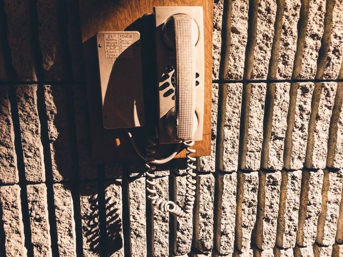 Telephone Vintage Concrete Brutalism Light And Shadow Contrast Shadow Wall - Building Feature Communication Connection Textured  Built Structure No People Architecture Wall