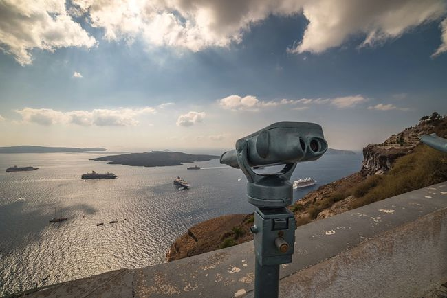 Lookout Binoculars Surveillance Coin-operated Binoculars Santorini Cloud - Sky Harbour Port Greece Nature Holiday POV Travel Destinations Travel Photography Travelling The Great Outdoors - 2017 EyeEm Awards Scenics Sea And Sky Beauty In Nature Seaside Sea View Scenery Looking Down Taking In The View. Greek Islands Lost In The Landscape