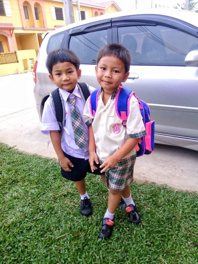 go to school School ✌ Education Private School Ready To Go To School, Student Elementary Age Young Studying Age School Students Thai Children Child Full Length Childhood Togetherness Portrait Looking At Camera Bonding Boys Standing Babyhood Baby Boys One Baby Boy Only Brother