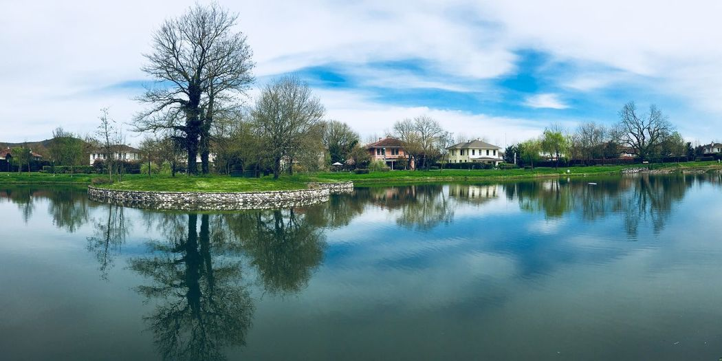 Symmetry of Landscape Rural Rural Counteyside Landscape Photography Landscape_photography Reflection Sky Tree Water Plant Cloud - Sky Lake Beauty In Nature Tranquility Nature Scenics - Nature Waterfront Architecture Tranquil Scene No People Day Outdoors
