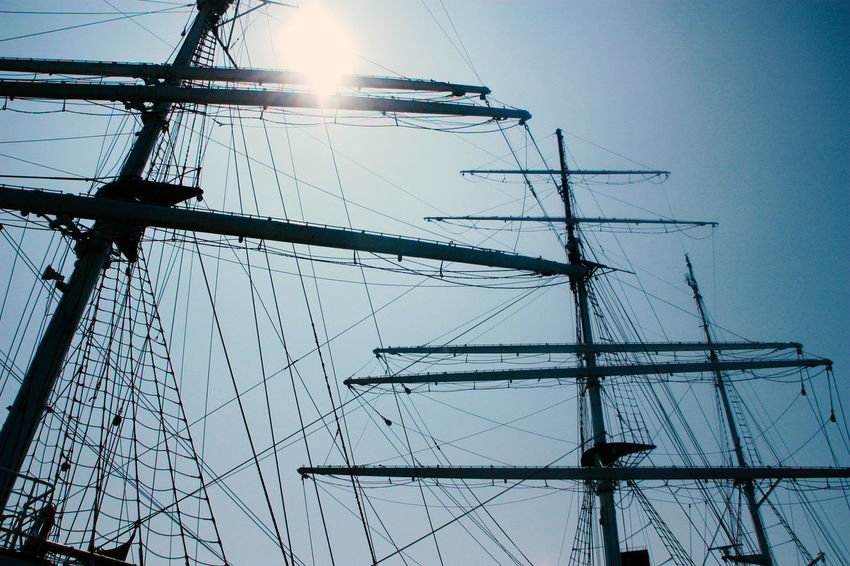 No wind, but sun... Clear Sky Day Low Angle View Mast Mode Of Transport Moored Nautical Vessel No People Outdoors Rigging Sailboat Sailing Sailing Ship Ship Sky Tall Ship Transportation