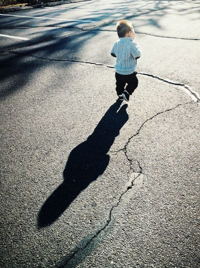 Tough guy Childhood Full Length Child Shadow Males  Standing Boys Sunlight Rear View Road Long Shadow - Shadow