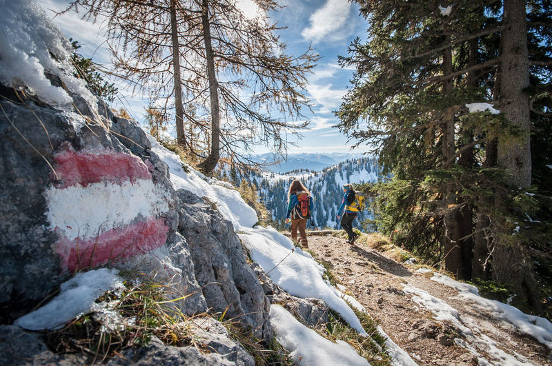 Hiking through the mountains Tree Real People Plant Nature Sky Men Lifestyles Day Leisure Activity Snow People Winter Rear View Cloud - Sky Beauty In Nature Incidental People Scenics - Nature Cold Temperature Group Of People Rock Outdoors