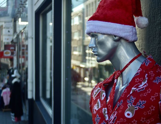 Christmas Mannequin Street City One Person Clothing Red Portrait Window Women Architecture Reflection Retail Display