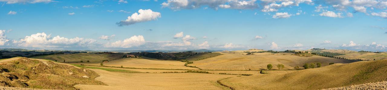 Panoramic shot of crete senesi against blue sky