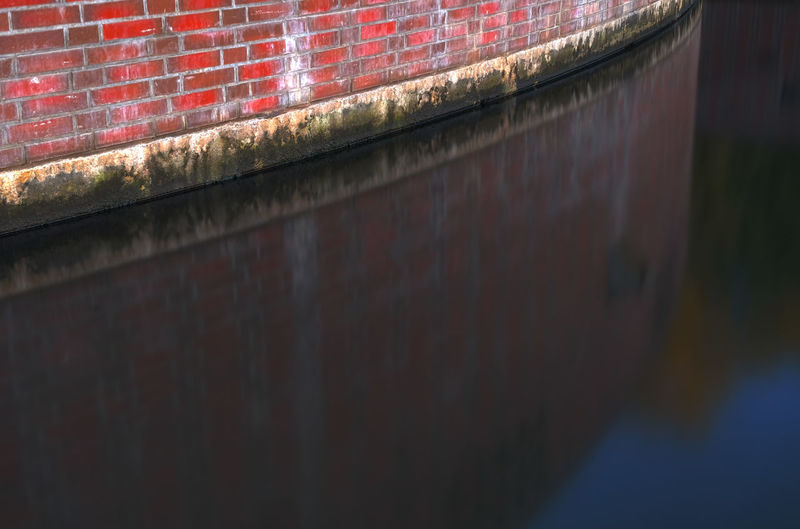 Close up of red brick wall