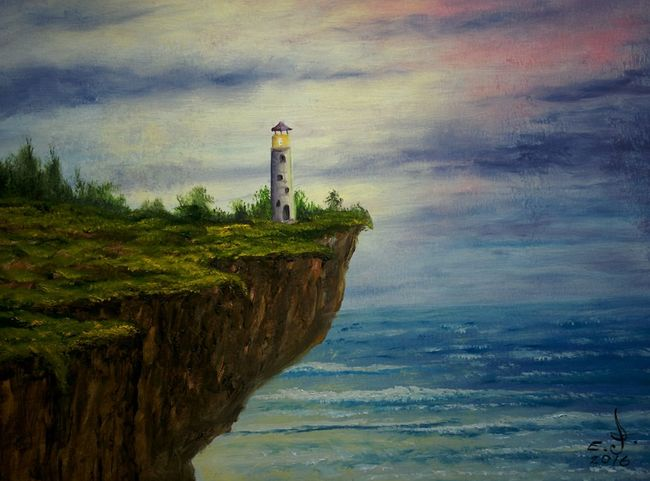 "Light house,oil on canvas 18""_24"". Lighthouse Water Nature Architecture Cloud - Sky Deep Blue Water Blue Ocean Drawing ArtWork Oil Painting Art, Drawing, Creativity Fine Art My Art Colllection Painted Image My Best Friends ❤ Fredom Friendship. ♡   Love ♥ Koi."
