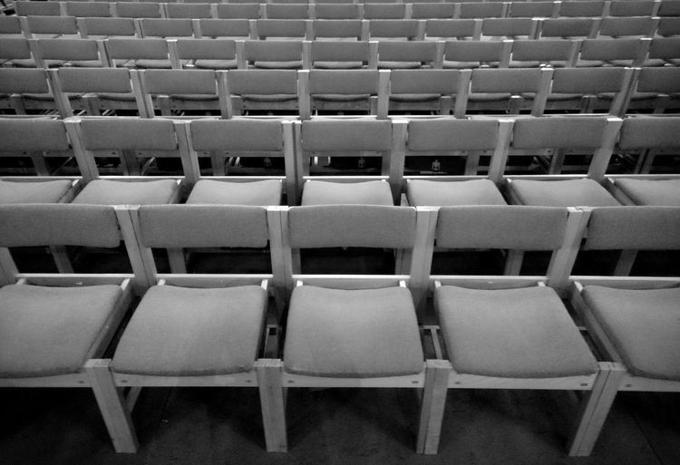 Full frame shot of chairs in cathedral