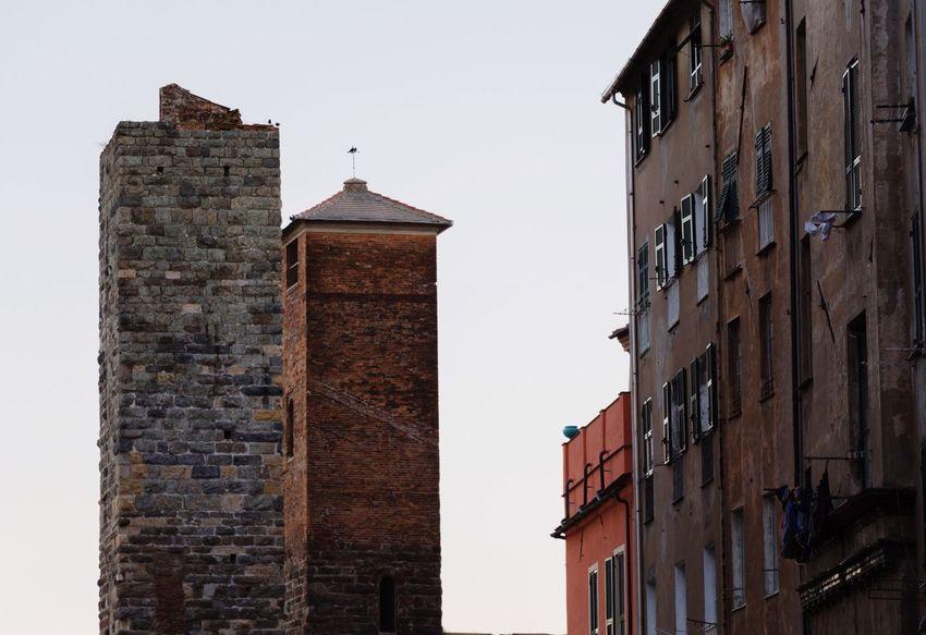 Old City Center Tower Bricks Foggy