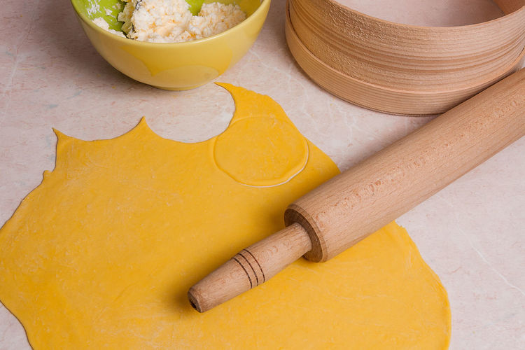 Bowl Close-up Cutting Board Equipment Food Food And Drink Freshness Healthy Eating High Angle View Indoors  Kitchen Utensil Mortar And Pestle No People Preparation  Rolling Pin Still Life Table Wood - Material Yellow