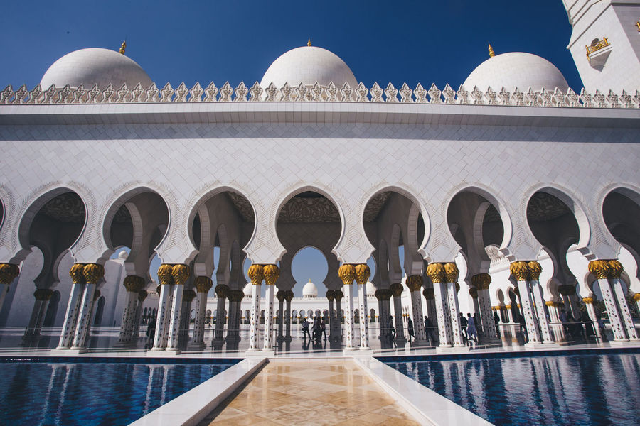 Abu Dhabi Arab Grand Mosque Mosque Sheik Zayed Mosque Tourist Attraction  Veiled Woman Worship