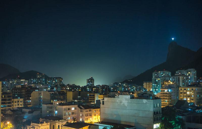 City Cristo Redentor Rio De Janeiro Skyline Brasil Citylights Illuminated Night No People