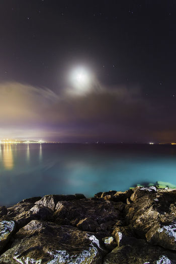 Night Nightphotography Moon Sea Longexposure İzmir First Eyeem Photo