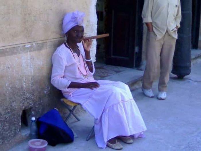 Walking In The Street Havana Cuba Woman Cigar
