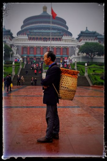 Real People Architecture City Men One Person Chongqing Chongqing City Hall People Vintage Photo Cityscape Frame It! Carrying A Basket Carrying Bag