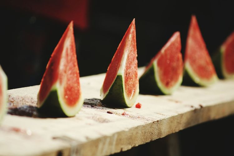 Close-Up Of Watermelon Slices On Table