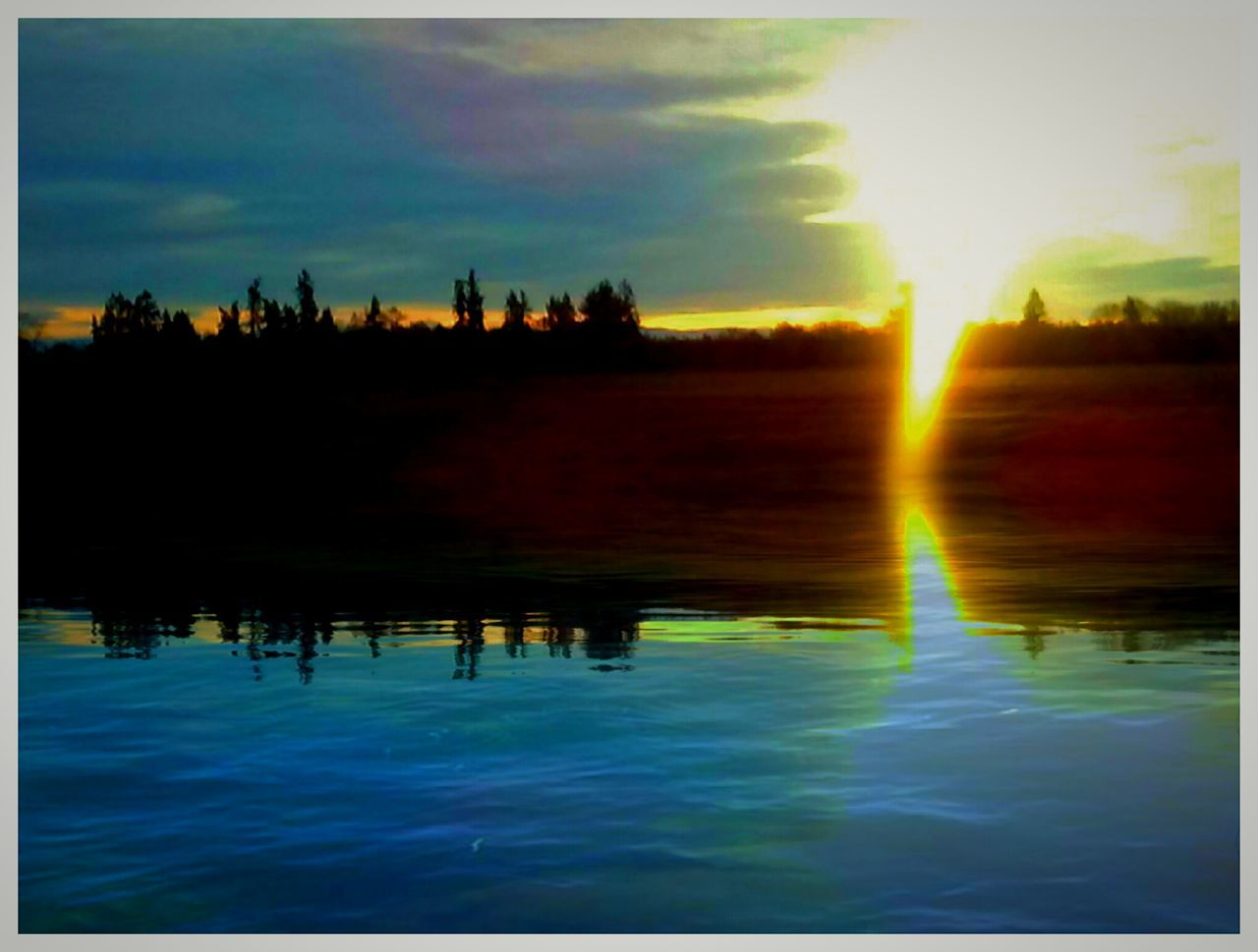 reflection, sunset, water, sky, nature, silhouette, beauty in nature, tranquil scene, tranquility, lake, outdoors, scenics, no people, cloud - sky, day, tree