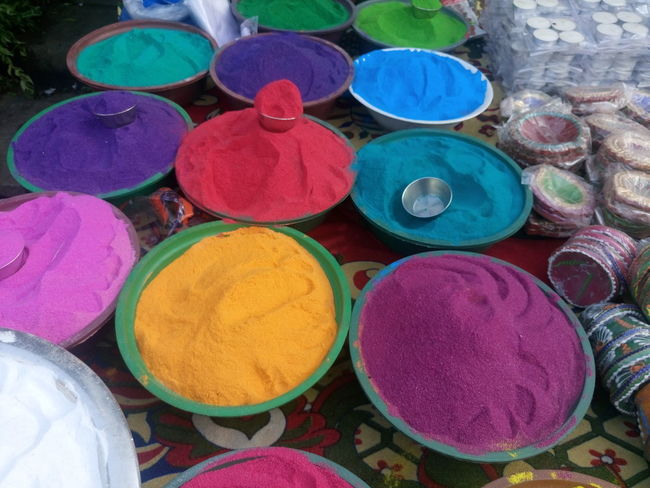 Art And Craft, Choice Circle Cultures Day Diwali For Sale Holi Horizontal Indian Culture, Large Group Of Objects Market Market Stall Merchandise Multi Colored No People Outdoors Powder Paint Religion Retail  Retail  Variation