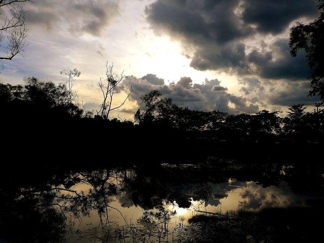 ธรรมชาติ Sky Water Reflections Water Sky And Clouds Sky Sky Reflections In The Water Sky Reflected In Water Sky Reflection Cloud - Sky Silhouette Sunset Sky Outdoors No People Nature Beauty In Nature Tranquility Tranquil Scene Reflection Tree Scenics Lake Plant Growth Forest Day