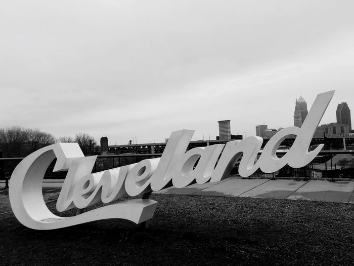 Cleveland script skyline Sky Downtown Blackandwhite Ohio Downtown Script Skyline Cleveland Text Communication No People Modern Outdoors Architecture Day First Eyeem Photo