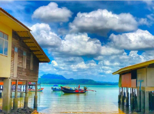 Cloudy ⛅️ #sounternofthailand Cloud - Sky Sky Built Structure Architecture Water Building Exterior Nautical Vessel Day Transportation Stilt House Tranquility Outdoors No People Scenics Nature Sea Beauty In Nature