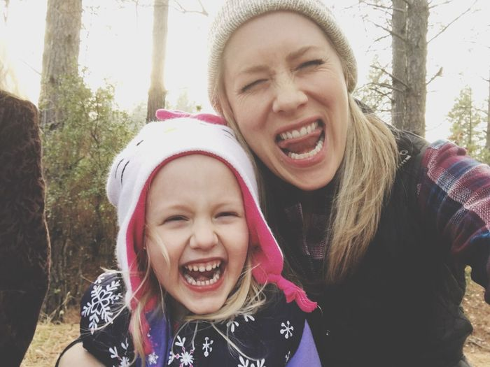 Mother Daughter Silly Being Silly Funny Faces Girl Power Winter Cold Weather Mountain Ranch California United States Girl Power Moms & Dads