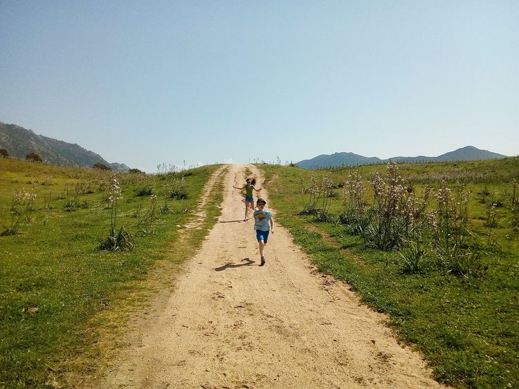 Walking Children Full Length Outdoors Day Sky Nature People Corsica Nofilter Landscapes Flying Over Your Imagination Green Enjoyment Beauty In Ordinary Things