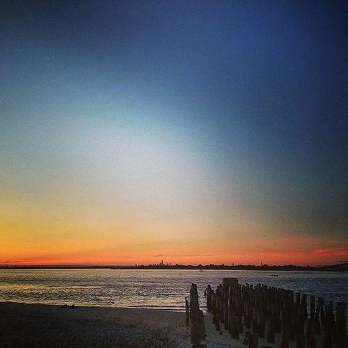 NYC Skyline Fort Tilden Sunset Calm Evenings Rampyari