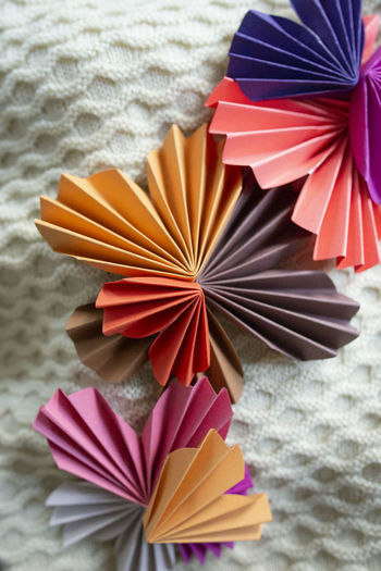 High angle view of multi colored umbrella on beach