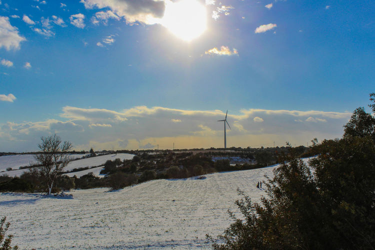 Puglia Alternative Energy Beauty In Nature Cold Temperature Fuel And Power Generation Industrial Windmill Italy Lens Flare Nature No People Outdoors Renewable Energy Scenics Sky Snow Snowfall Sun Sunbeam Sunlight Sunset Tree Wind Power Wind Turbine Windmill Winter
