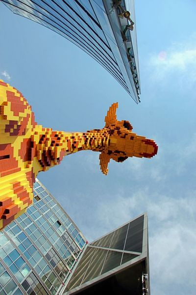 Architecture Building Exterior Built Structure City Day Giraffe Lego Giraffe Lego Sculpture Low Angle View Model No People Outdoors Sculpture Sky Skyscraper Tourism Travel Travel Destinations