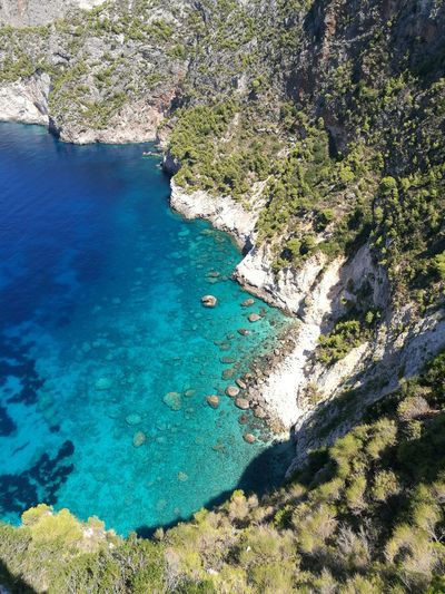 Beach Nature Water High Angle View Day Outdoors Sand Beauty In Nature Blue Sea Scenics Tranquility No People Shadow Sky Greece Nature Rock - Object Travel Destinations Zakynthos,Greece Campi Bay