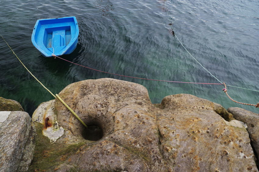 Brittany Harbor Blue Boat Hole In The Rock Moorings  No People Rocks Sea