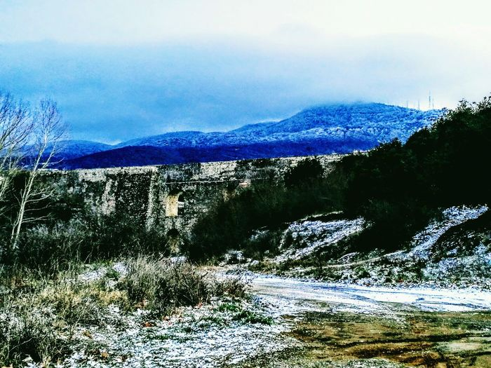 Xortiati Mountain Wintertime Thessaloniki Aqueduct Beauty In Nature Blue Nature Sky Scenics Mountain Tree Outdoors Water No People Tranquil Scene Day Close-up First Eyeem Photo