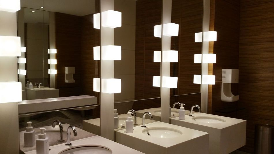 The beautiful public rest room. Architecture Bathroom Bathroom Sink Cleaning Day Domestic Bathroom Domestic Room Faucet Home Interior Home Showcase Interior Household Fixture Indoors  Interior Design Lighting Luxury Modern No People Rest Room Sepia Sink Washing