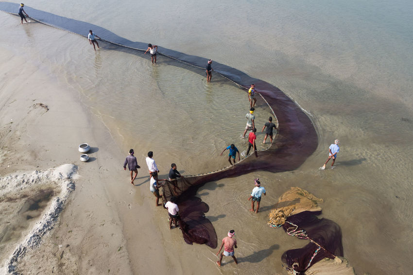 A large group of people were fishing in the River Atrai, once a famous big river. Over the period of time the river is drying up, and now a days people crosses this river with trucks. Adult Atrai River Bangladesh Climate Change Day Daylight Environment Environmental Issues Fishing FIshing In Banglade Fishing Net Fishing Time Fishing Timee! Group Of People High Angle View Large Group Of People Nature Outdoor Outdoors People People And Nature People And Places Photography River Water