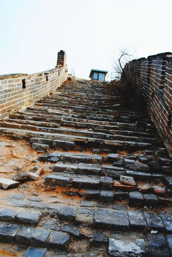 Climbing the Great Wall of China Great Wall Great Wall Of China Architecture Built Structure Building Exterior Steps Steps And Staircases Staircase Low Angle View Outdoors Sky No People Day Clear Sky