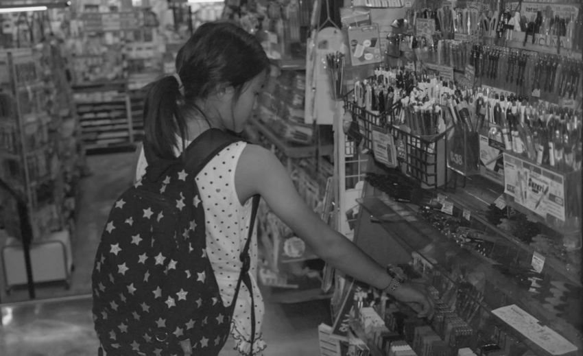 My Daughter Shopping Stationery EyeEm EyeEm Best Shots Canon EOS 7 Old Cameras Blackandwhite Black And White My daughter love stationaries. ?