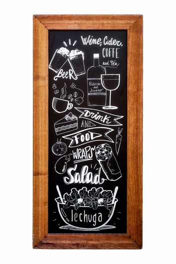 Restaurant menu drawing with chalk on blackboard background, isolated on white Art And Craft Blackboard  Blackboard  Board Chalk Chalkboard Close-up Communication Container Craft Creativity Design Drawing Drawing - Art Product Floral Pattern Indoors  Information Isolated White Background Menu Drawing No People Number Representation Restaurant Restaurant Decor Restaurant Menu Sign Text Western Script Wood Wood - Material