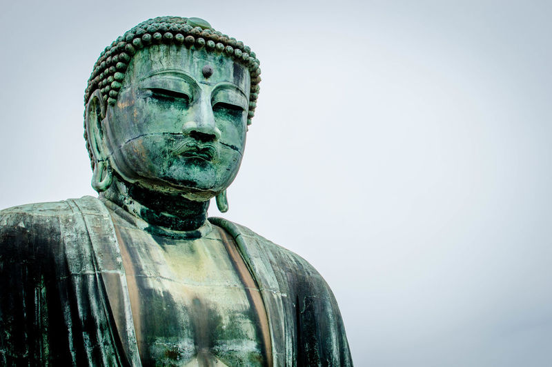 Close-Up Of Buddha Statue Against Clear Sky