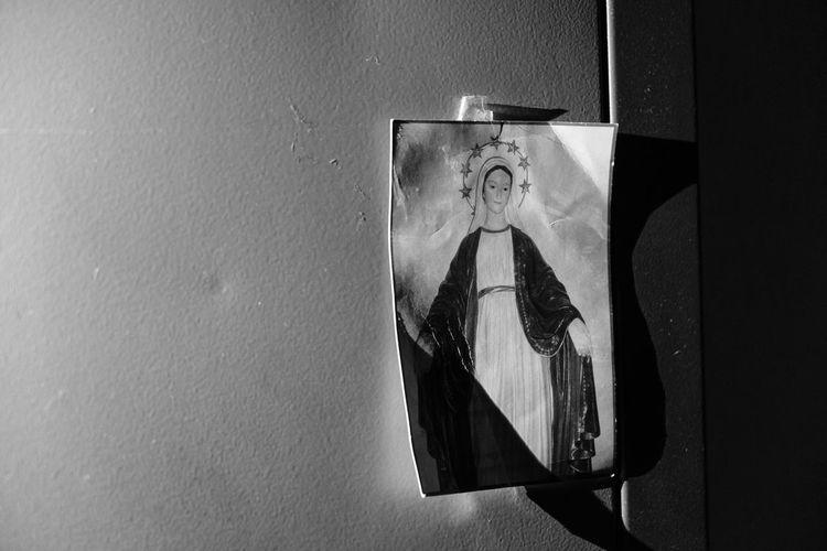 Abandoned Blackandwhite Dark Grunge Human Representation No People Religious  School Shadows Virgin Mary