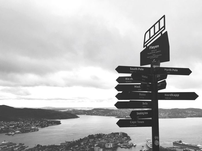 Locations Norway Bergen Fløyen Sky Cloud - Sky Communication Nature Sign Water Day Outdoors Guidance Direction Directional Sign