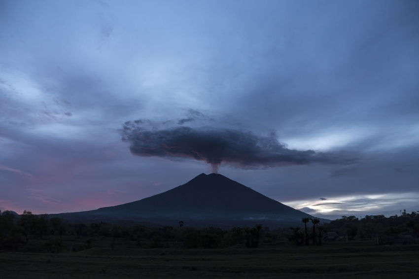 Beauty In Nature Cloud - Sky Dusk Environment Geology Idyllic Land Landscape Mountain Mountain Peak Nature No People Non-urban Scene Outdoors Power In Nature Scenics - Nature Sky Smoke - Physical Structure Tranquil Scene Tranquility Volcano