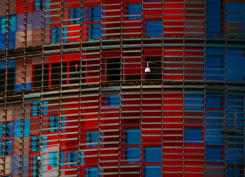 Barcelona city Red The Graphic City Architecture Backgrounds Blue Building Exterior Built Structure Day Full Frame No People Outdoors Red And Blue Torre Glories Colour Your Horizn EyeEmNewHere