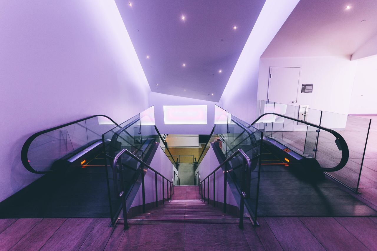 indoors, the way forward, illuminated, staircase, steps and staircases, railing, no people, architecture, modern, day