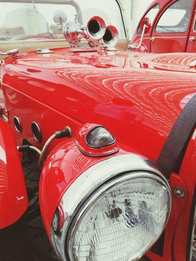Red Transportation Mode Of Transport Headlight Car Outdoors Close-up Fusquinha Fusca Carocha Vermelho