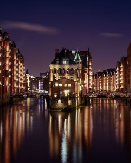Speicherstadt Architecture Building Exterior City Cityscape Dusk Germany Hamburg Historic Illuminated Night No People Outdoors Reflection Speicherstadt Hamburg Travel Destinations UNESCO World Heritage Site Urban Skyline Urbex Water