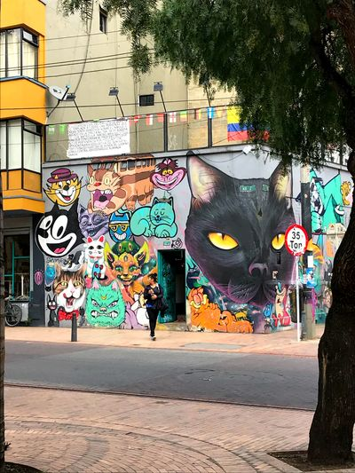 Cats Multi Colored Graffiti Creativity Art And Craft Street Art City #urbanana: The Urban Playground Building Exterior Day Built Structure Tree Wall - Building Feature Street Outdoors Multi Colored Graffiti Creativity Art And Craft Street Art City #urbanana: The Urban Playground Building Exterior Day Built Structure Tree Wall - Building Feature Street Outdoors