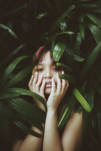 Being human is a condition that requires anesthesia Human Hand Young Women Headshot Beautiful Woman Close-up Leaves Fragility Growing First Eyeem Photo