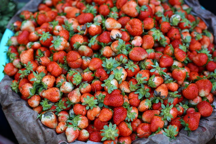 Close-up of strawberries for sale at market
